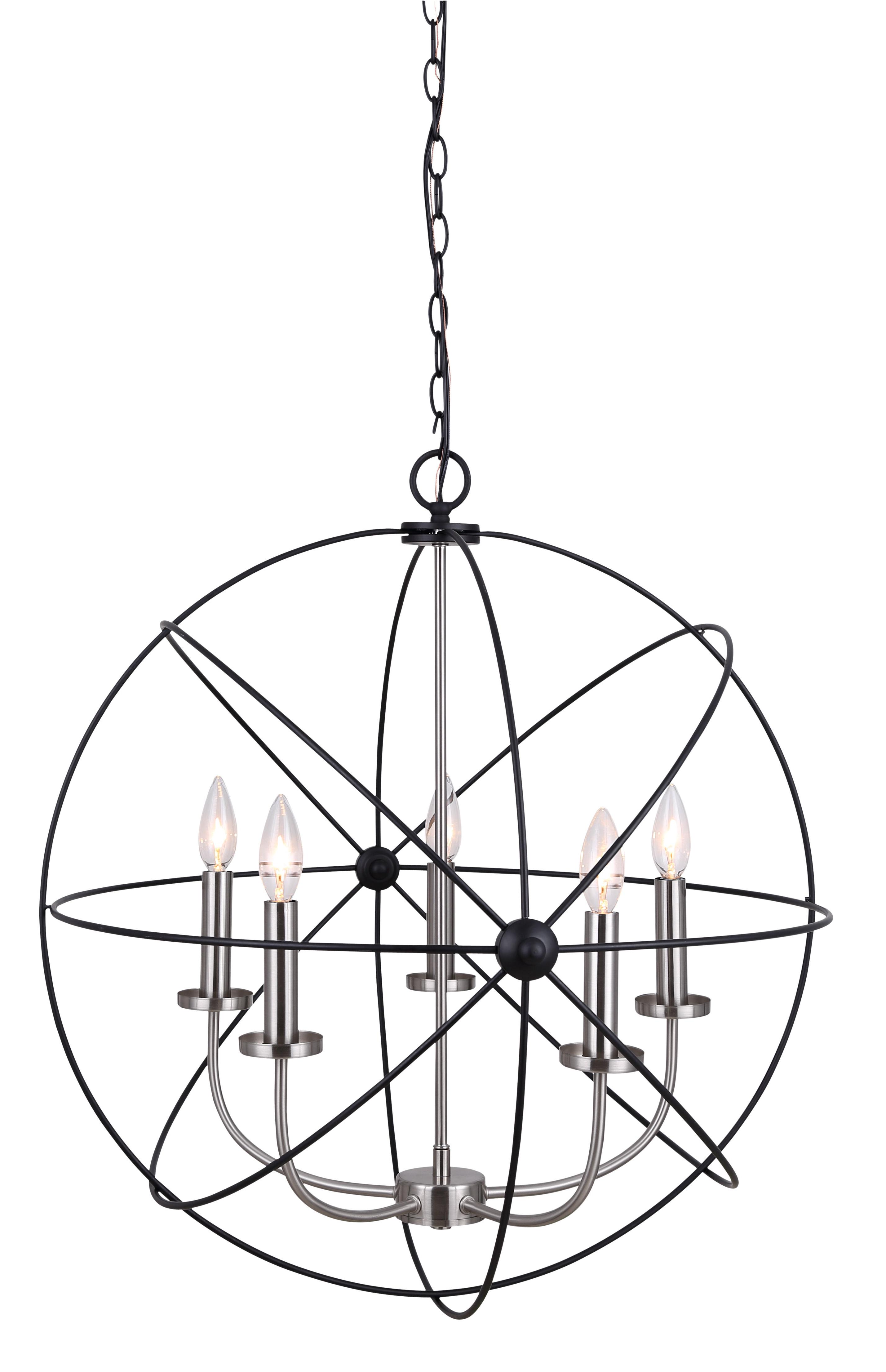 Trendy Waldron 5 Light Globe Chandeliers Regarding Ivy Bronx Waldron 5 Light Globe Chandelier (View 10 of 20)