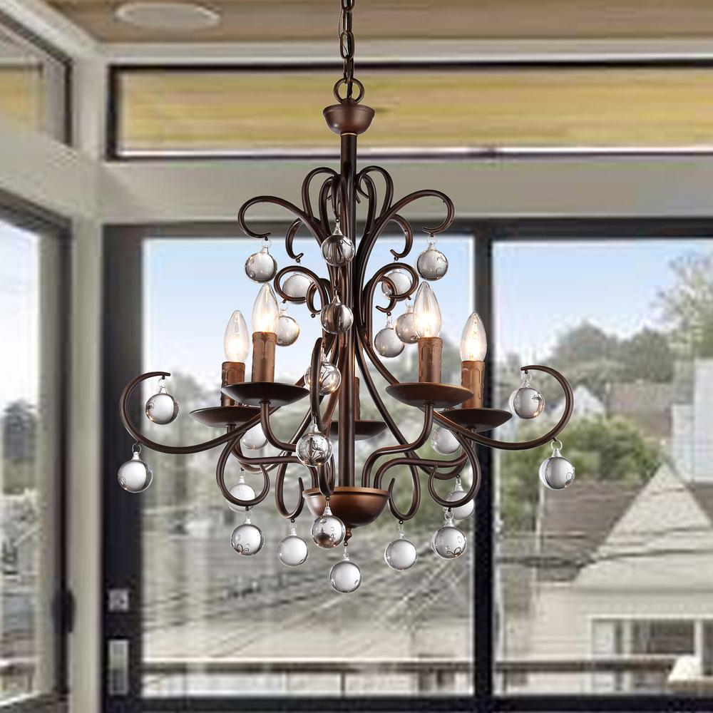 Trendy Warehouse Of Tiffany Grace Crystal Drop Curved 5 Light Antique Bronze  Chandelier Pertaining To Sherri 6 Light Chandeliers (View 18 of 20)