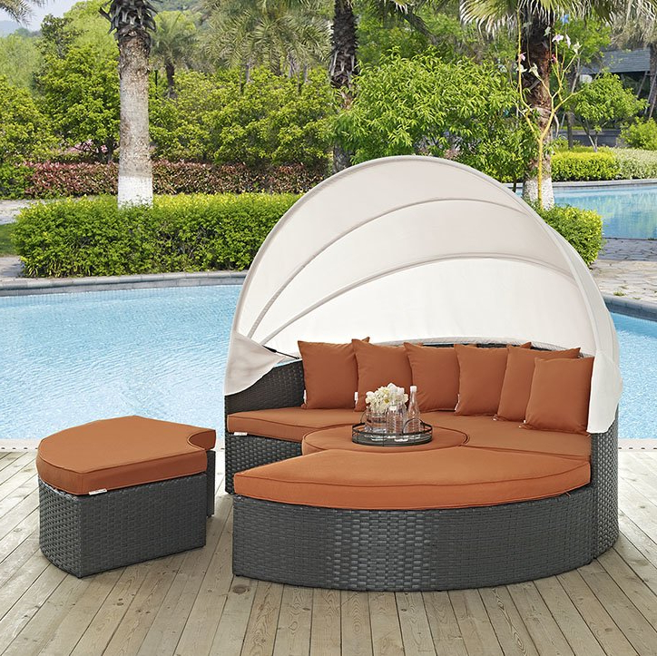 Tripp Patio Daybeds With Cushions Pertaining To Most Popular Tripp Patio Daybed With Sunbrella Cushions (View 15 of 20)