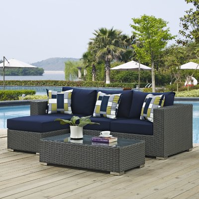 Tripp Sofa With Cushions Regarding Widely Used Brayden Studio Tripp 3 Piece Sunbrella Sofa Set With (View 16 of 20)
