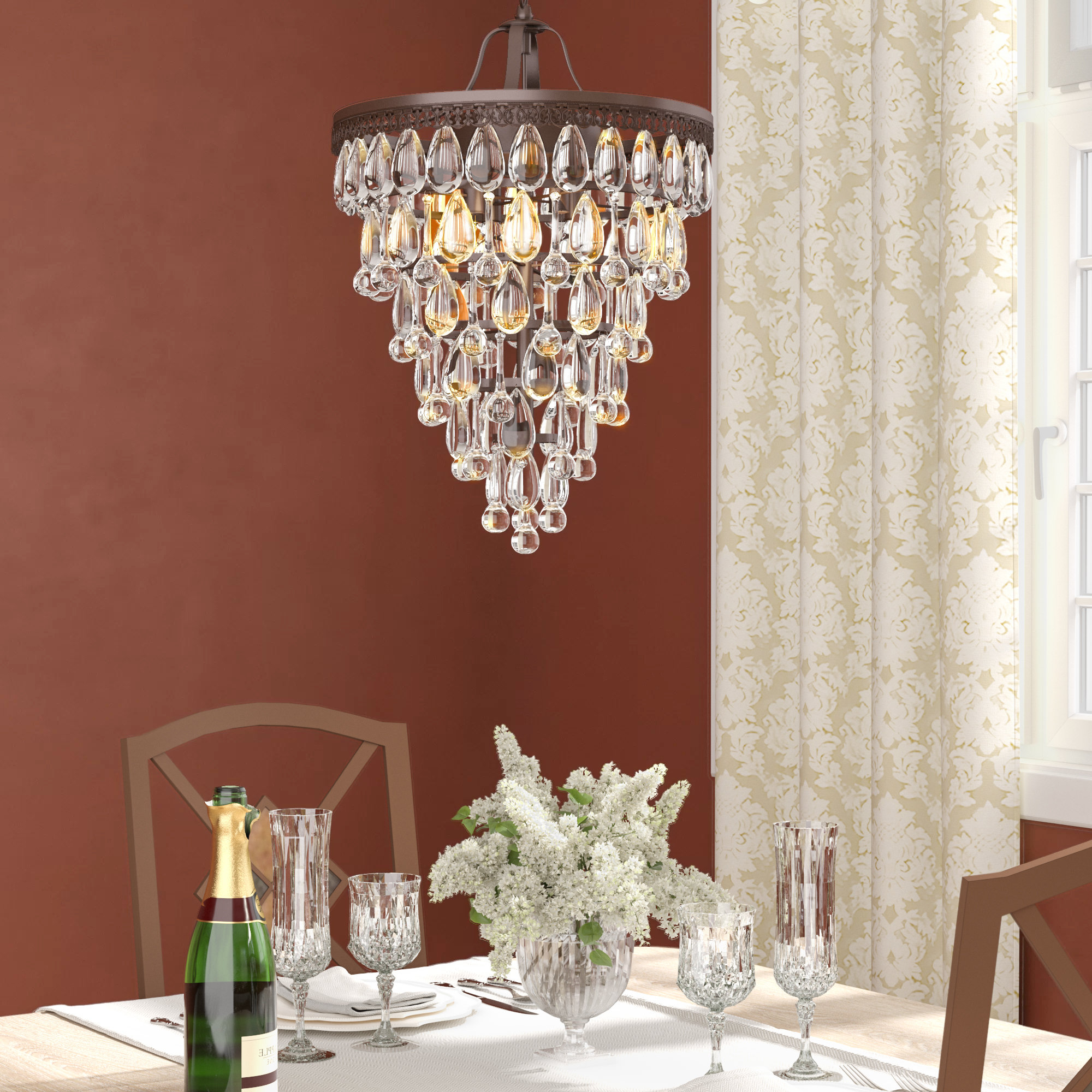 Trujillo 4 Light Crystal Chandelier For Widely Used Aurore 4 Light Crystal Chandeliers (View 14 of 20)