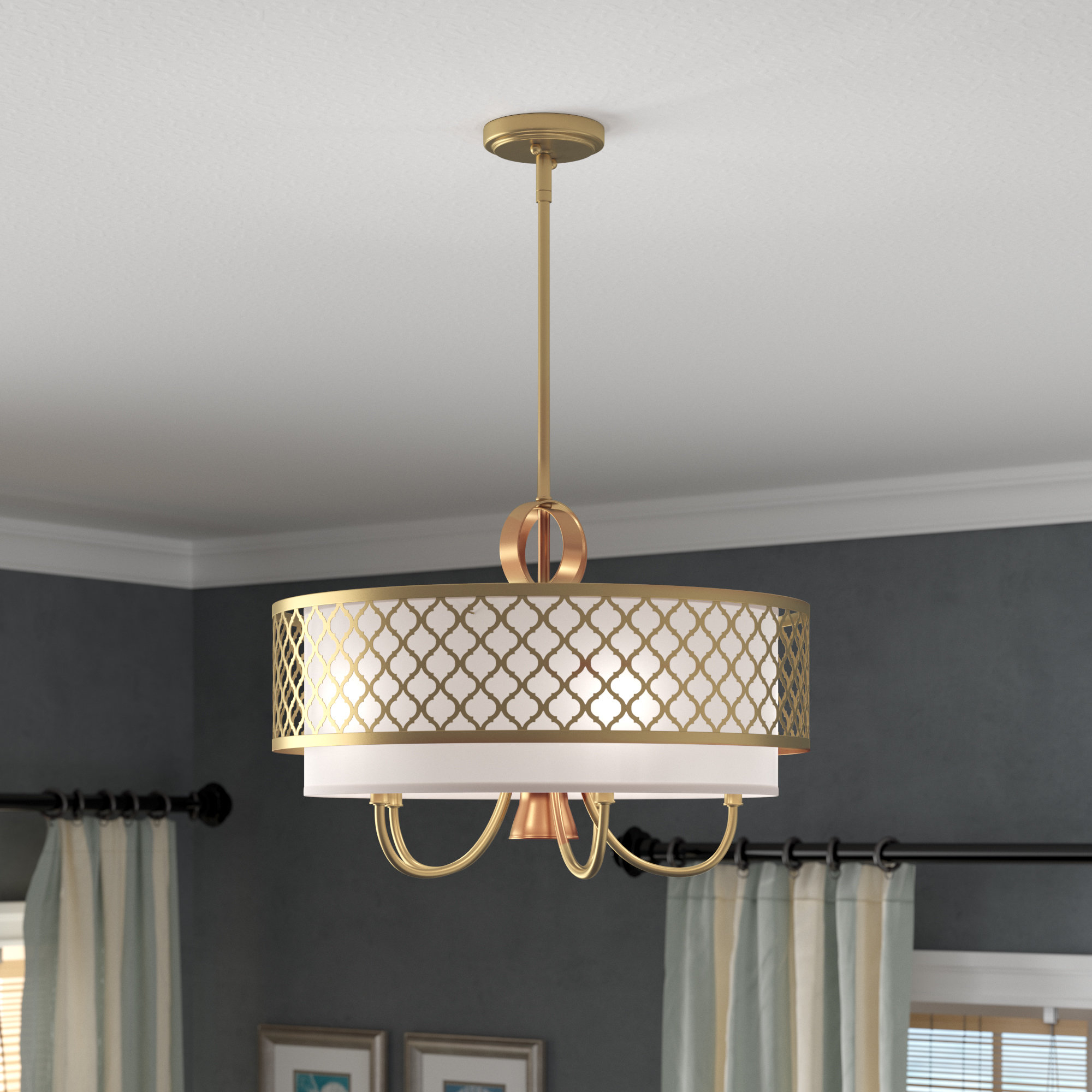 Tymvou 5 Light Drum Chandelier In Widely Used Abel 5 Light Drum Chandeliers (View 3 of 20)