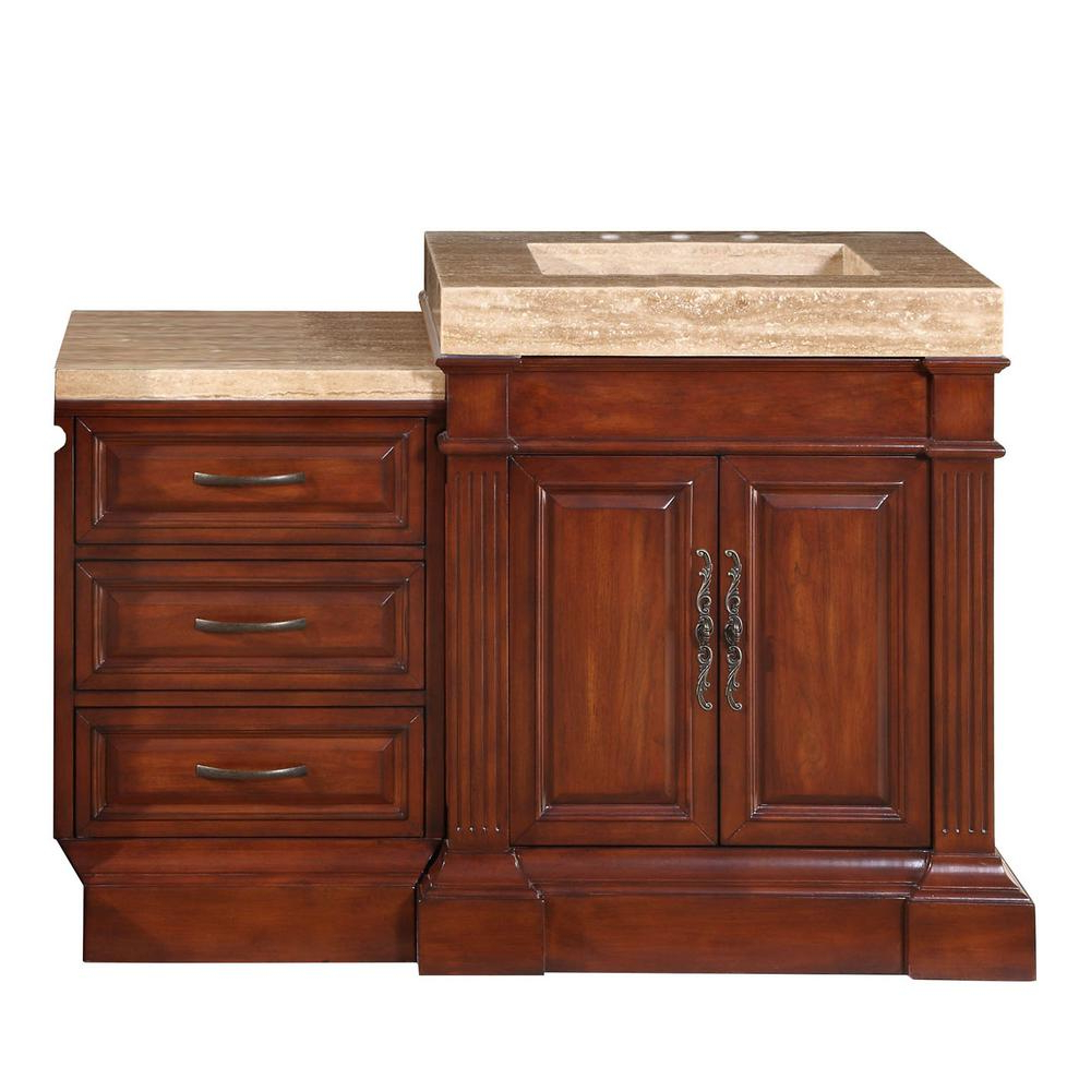 Upper Stanton Sideboards Inside Widely Used Silkroad Exclusive 51 In. W X 24 In. D Vanity In Cherry With Stone Vanity  Top In Travertine With Stone Ramp Basin (Gallery 17 of 20)