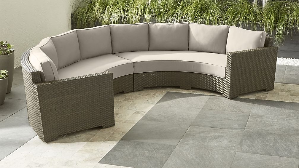 Ventura Round 2 Piece Sectional With Sunbrella ® Cushions Within Famous Michal Patio Sofas With Cushions (View 9 of 20)