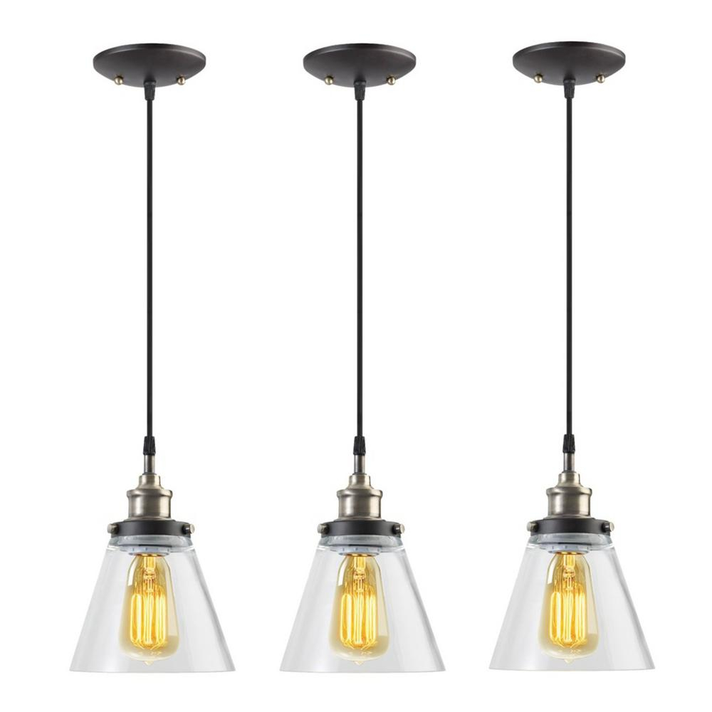 Vintage Edison 1 Light Bowl Pendants Within Most Up To Date Globe Electric Jackson 1 Light Vintage Edison Antique Brass Bronze And  Black Hanging Pendant (3 Pack) (View 17 of 20)