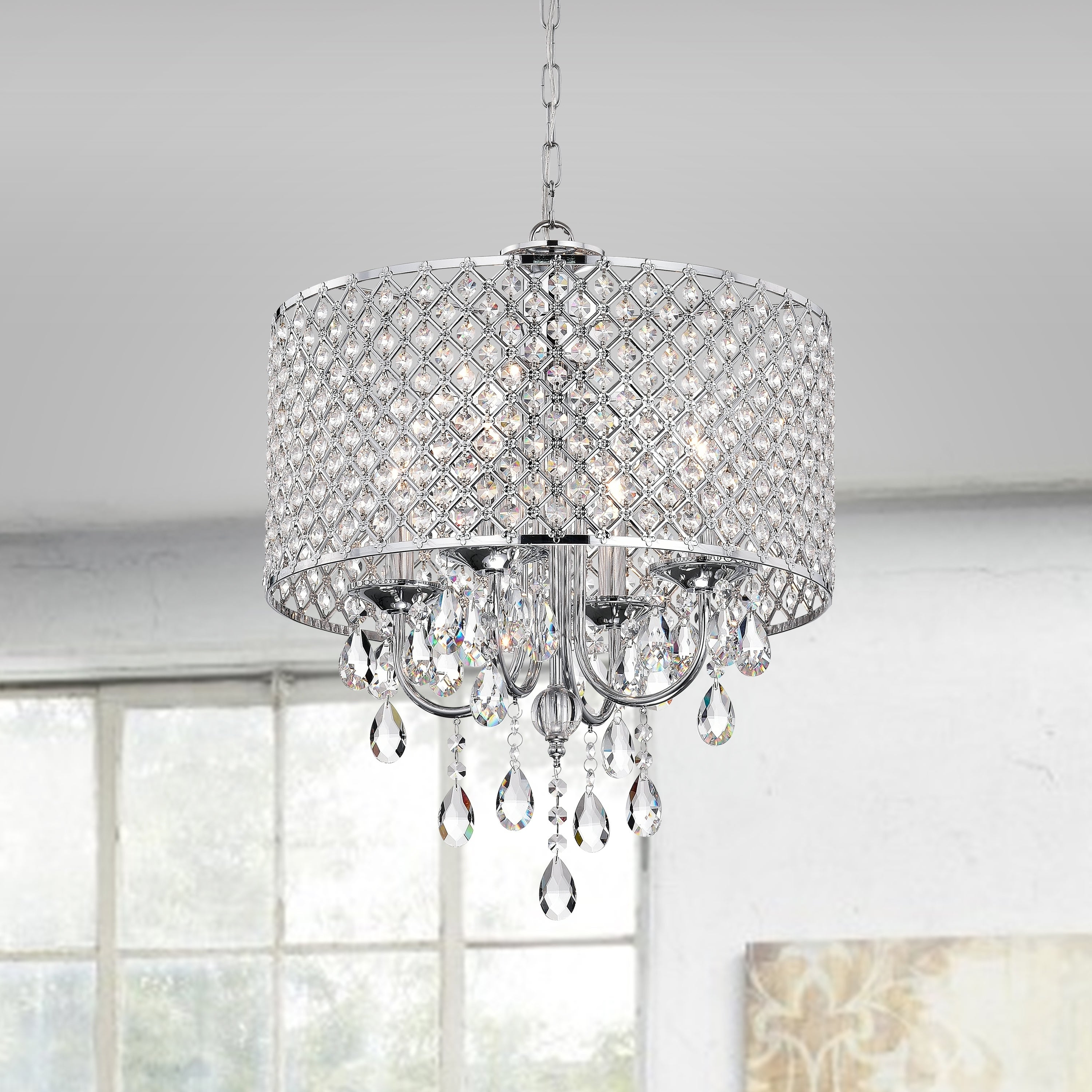 Von 4 Light Crystal Chandeliers Pertaining To Well Known Aaryn 4 Light Drum Chandelier (View 13 of 20)