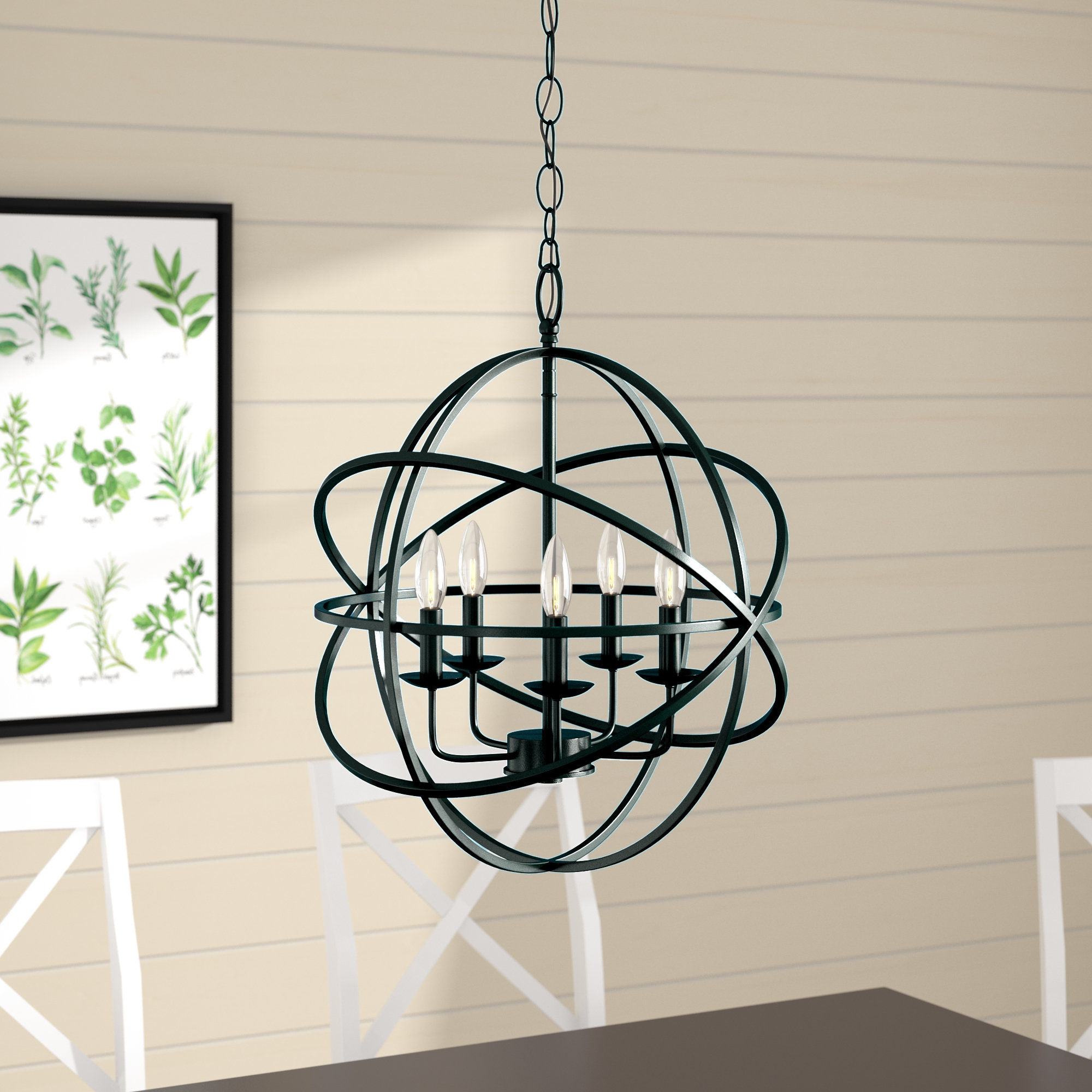 Waldron 5 Light Globe Chandeliers For Favorite Hankinson 5 Light Globe Chandelier (View 12 of 20)