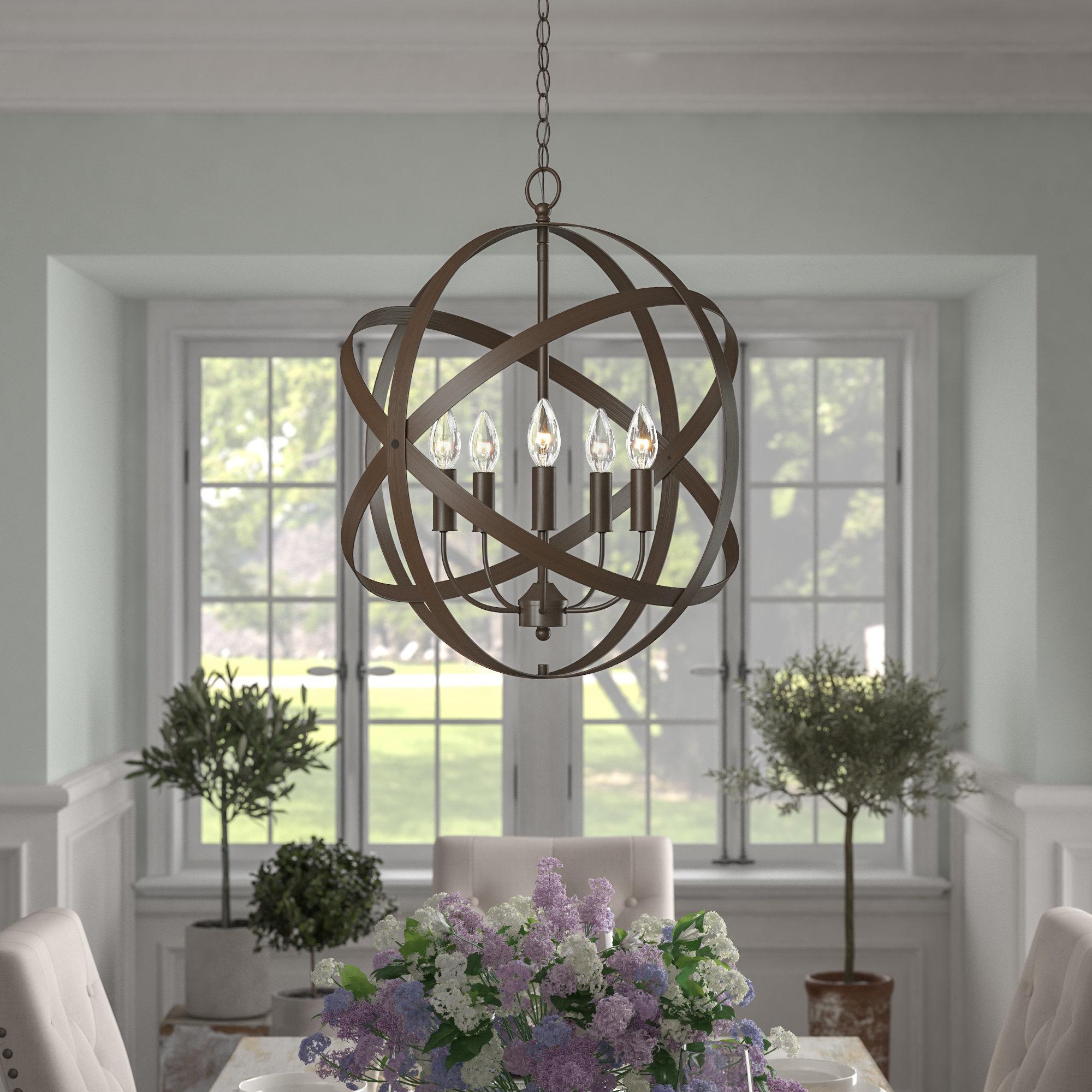 Waldron 5 Light Globe Chandeliers Inside Preferred Della 5 Light Globe Chandelier (View 14 of 20)