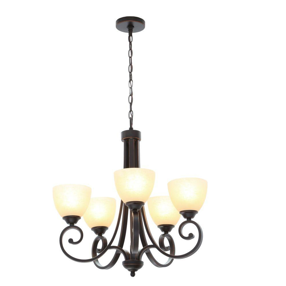 Waldron 5 Light Globe Chandeliers With Regard To Well Known Hampton Bay Renae 5 Light Oil Rubbed Bronze Chandelier With Amber Glass  Shades (View 18 of 20)