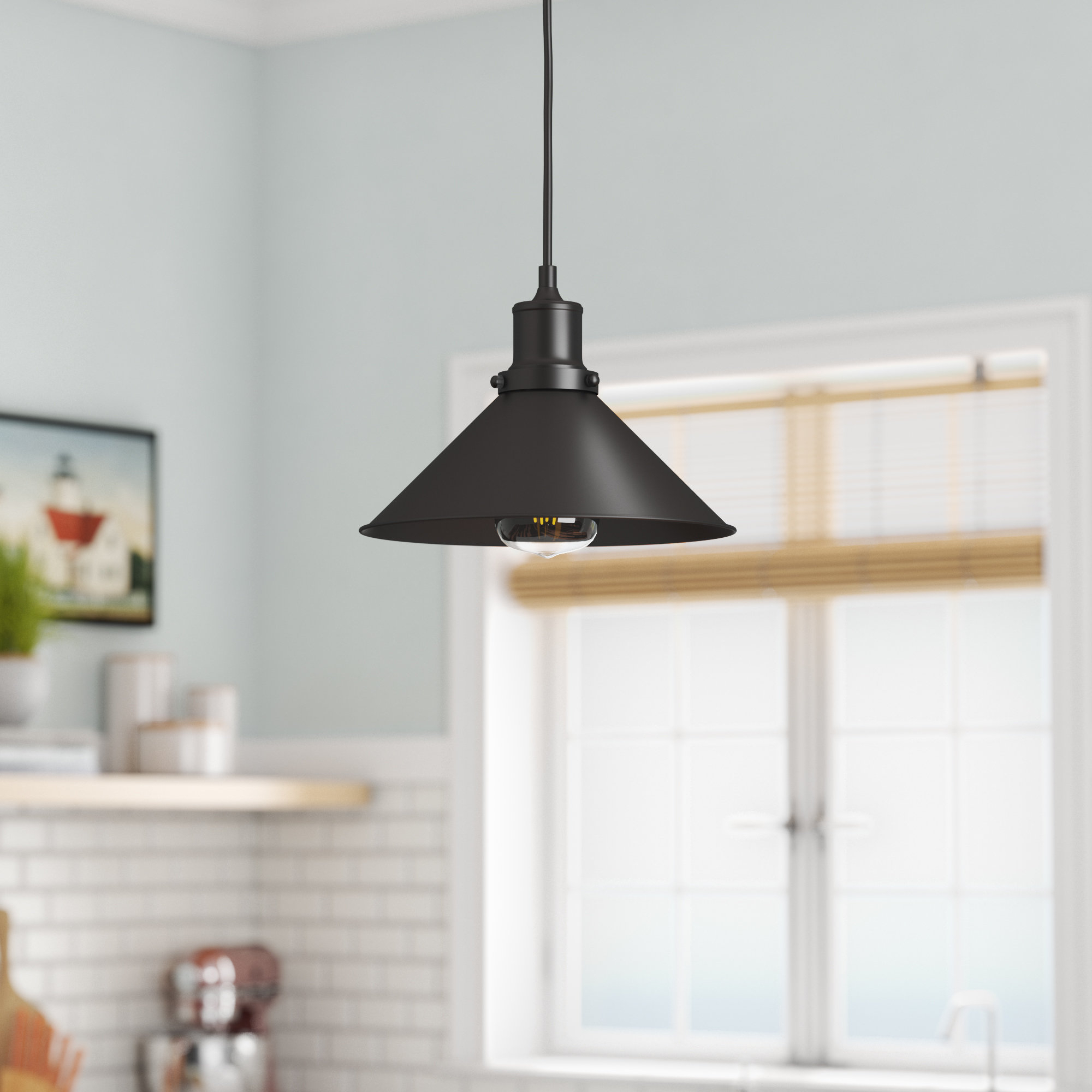 Wallner 1 Light Single Cone Pendant In Well Liked Nolan 1 Light Single Cylinder Pendants (View 18 of 20)