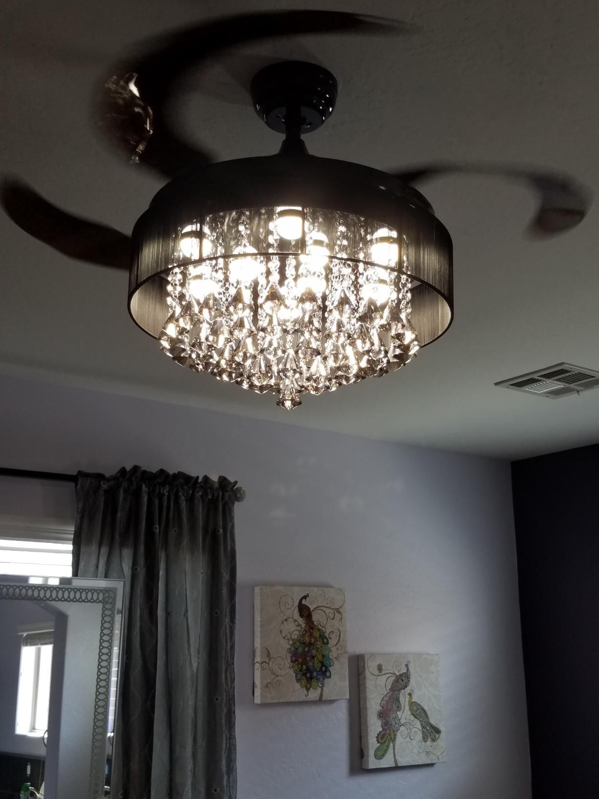 "Well Known 46"" Broxburne Modern Crystal Retractable Ceiling Fan With In Von 4 Light Crystal Chandeliers (Gallery 13 of 20)"