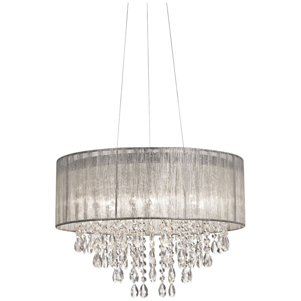 """Well Known Abel 5 Light Drum Chandeliers In Possini Euro Jolie 20""""w Silver Fabric Crystal Chandelier (View 20 of 20)"""