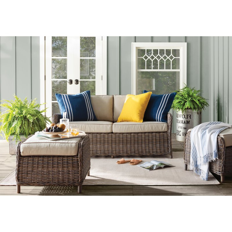 Well Known Avadi Outdoor Sofas & Ottomans 3 Piece Set With Avadi Outdoor Sofa & Ottomans 3 Piece Set (Gallery 3 of 20)
