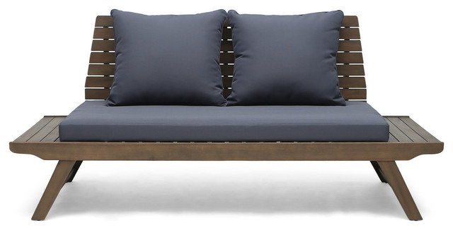 Well Known Baltic Loveseats With Cushions For Kailee Outdoor Wooden Loveseat With Cushions, Dark Gray, Gray Finish (View 19 of 20)