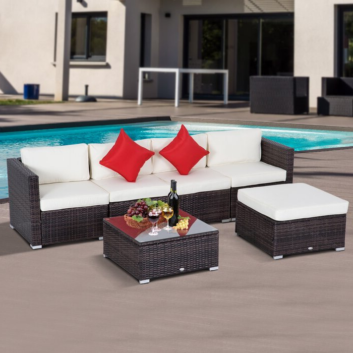 Well Known Barnett 6 Piece Rattan Sectional Set With Cushions With Regard To Larsen Patio Sectionals With Cushions (View 17 of 20)