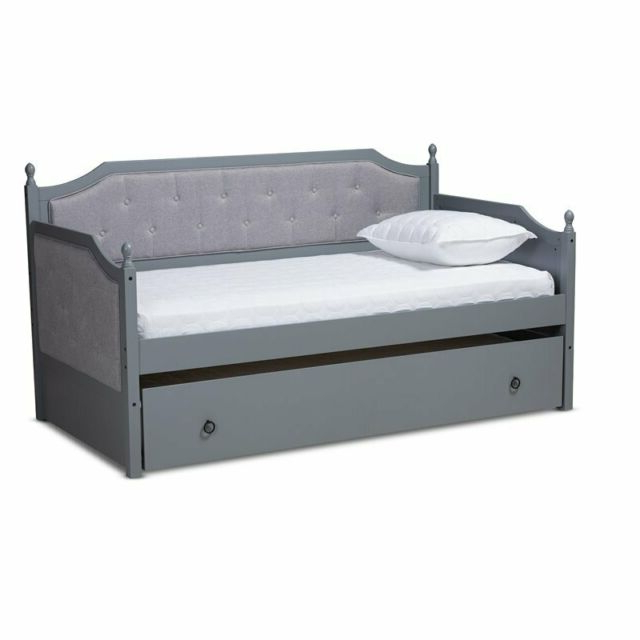Well Known Baxton Studio Mara Grey Finished Wood Twin Size Daybed With Trundle Throughout Tripp Patio Daybeds With Cushions (View 18 of 20)