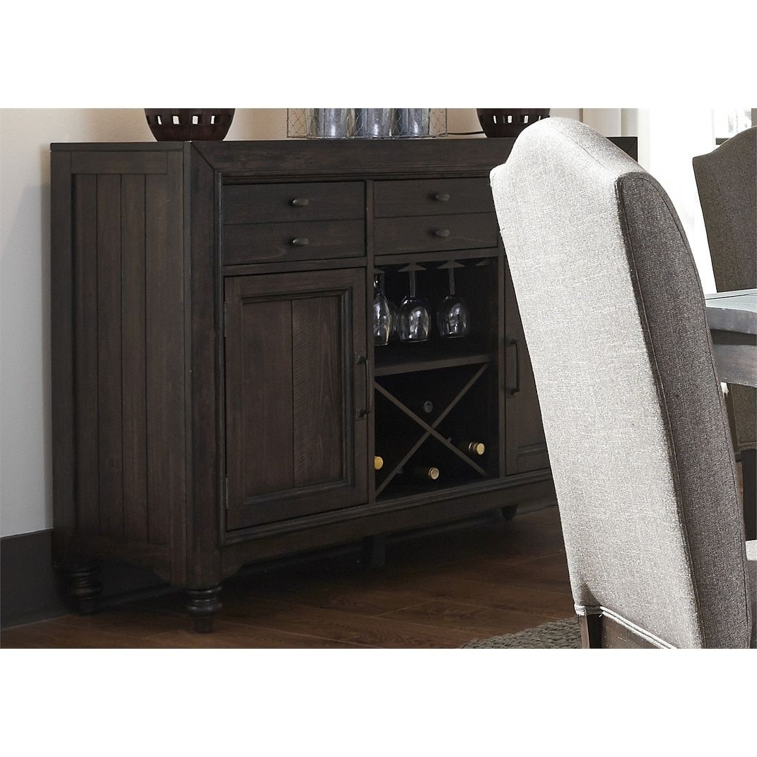Well Known Caines Credenzas With Catawba Hills Peppercorn And Saw Cut Distressing Server (View 19 of 20)