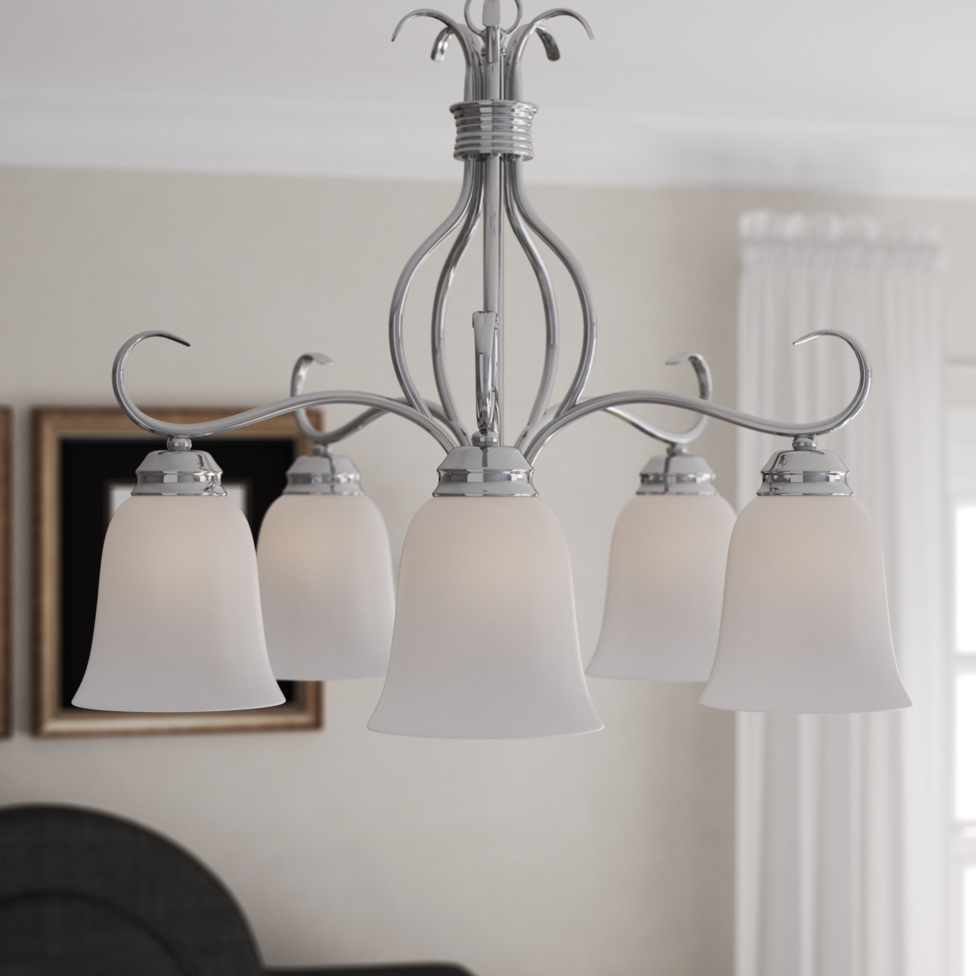 Well Known Charlton Home Wehr 5 Light Shaded Chandelier & Reviews In Newent 5 Light Shaded Chandeliers (View 17 of 20)