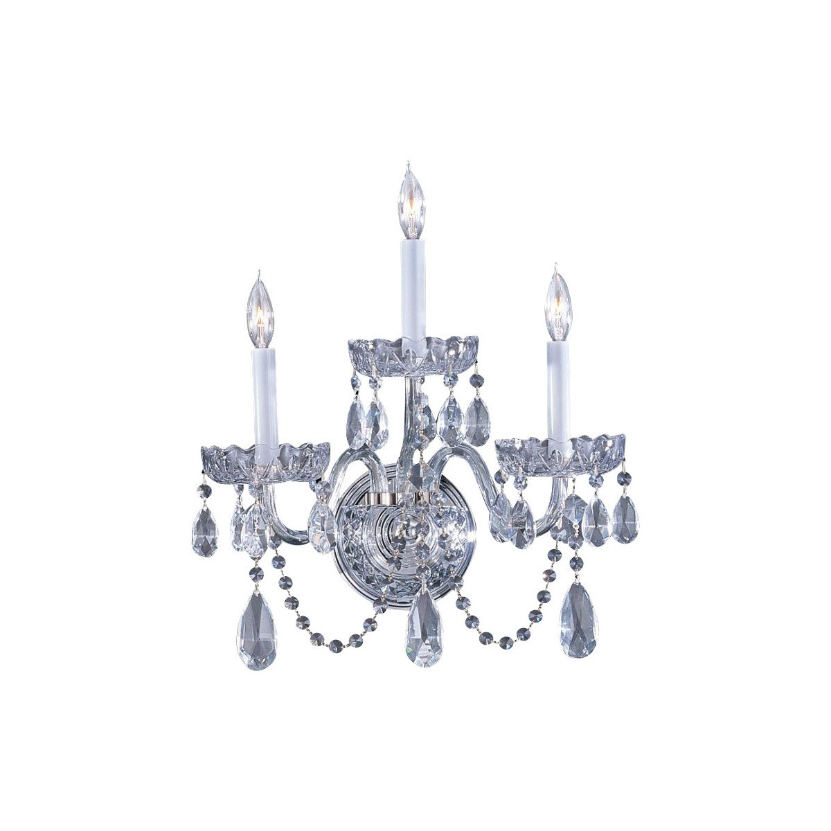Well Known Clea 3 Light Crystal Chandeliers Regarding Lampara De Pared Crystorama Traditional Crystal 3 Light Clea (View 18 of 20)