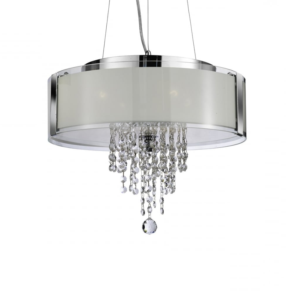 Well Known Clea 3 Light Crystal Chandeliers With Regard To Pendant – 4 Light Ceiling Pendant Chrome With Frosted Glass And Clea (View 15 of 20)