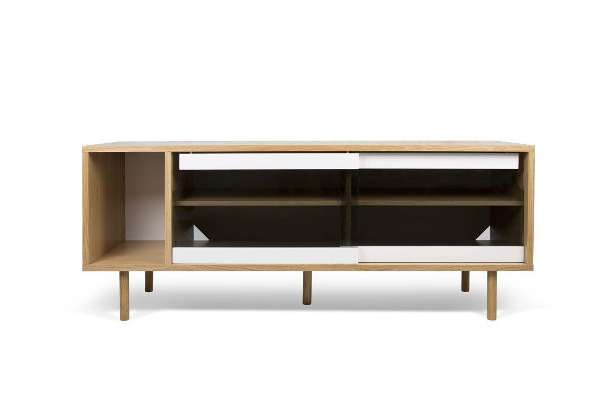 Well Known Dann Sideboard Oak Frame, Pure White/glass Doors, Oak Feet Regarding Joyner Sideboards (Gallery 16 of 20)