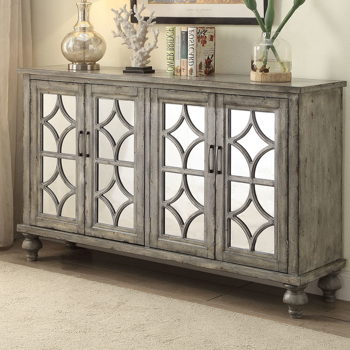 Well Known Diondre 4 Door Accent Cabinet For Kara 4 Door Accent Cabinets (View 4 of 20)