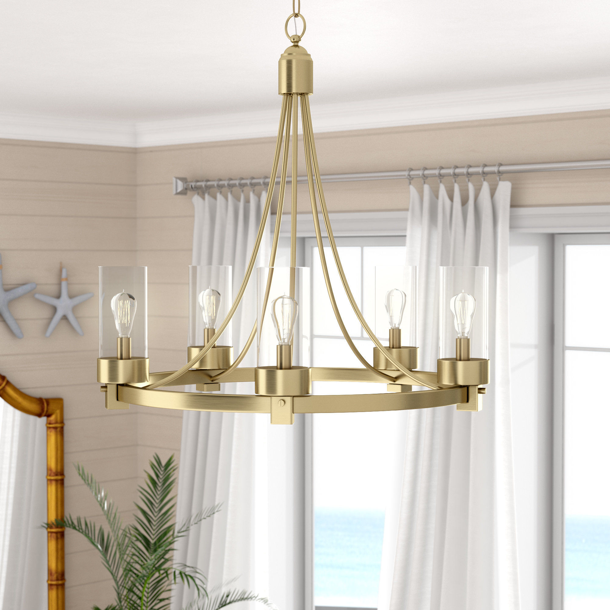 Well Known Duron 5 Light Empire Chandeliers Regarding Delshire 5 Light Wagon Wheel Chandelier (View 19 of 20)