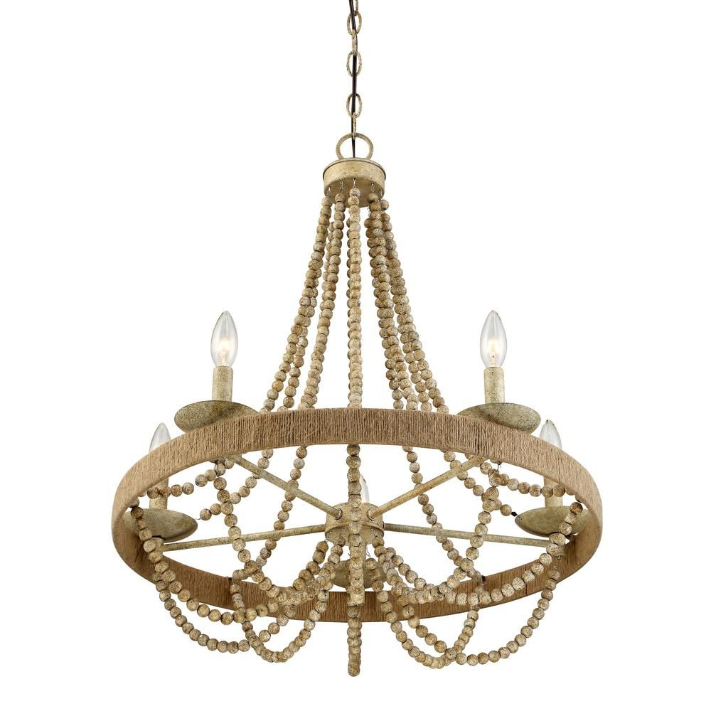 Well Known Duron 5 Light Empire Chandeliers Regarding Filament Design 5 Light Natural Wood With Rope Chandelier (View 17 of 20)