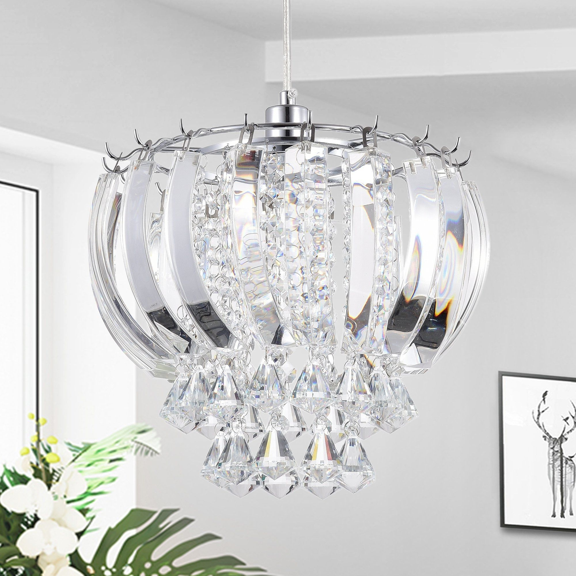 Well Known Edmundo 1 Light Unique / Statement Geometric Pendants For Elfman 1 Light Crystal Hanging Pendant (View 20 of 20)