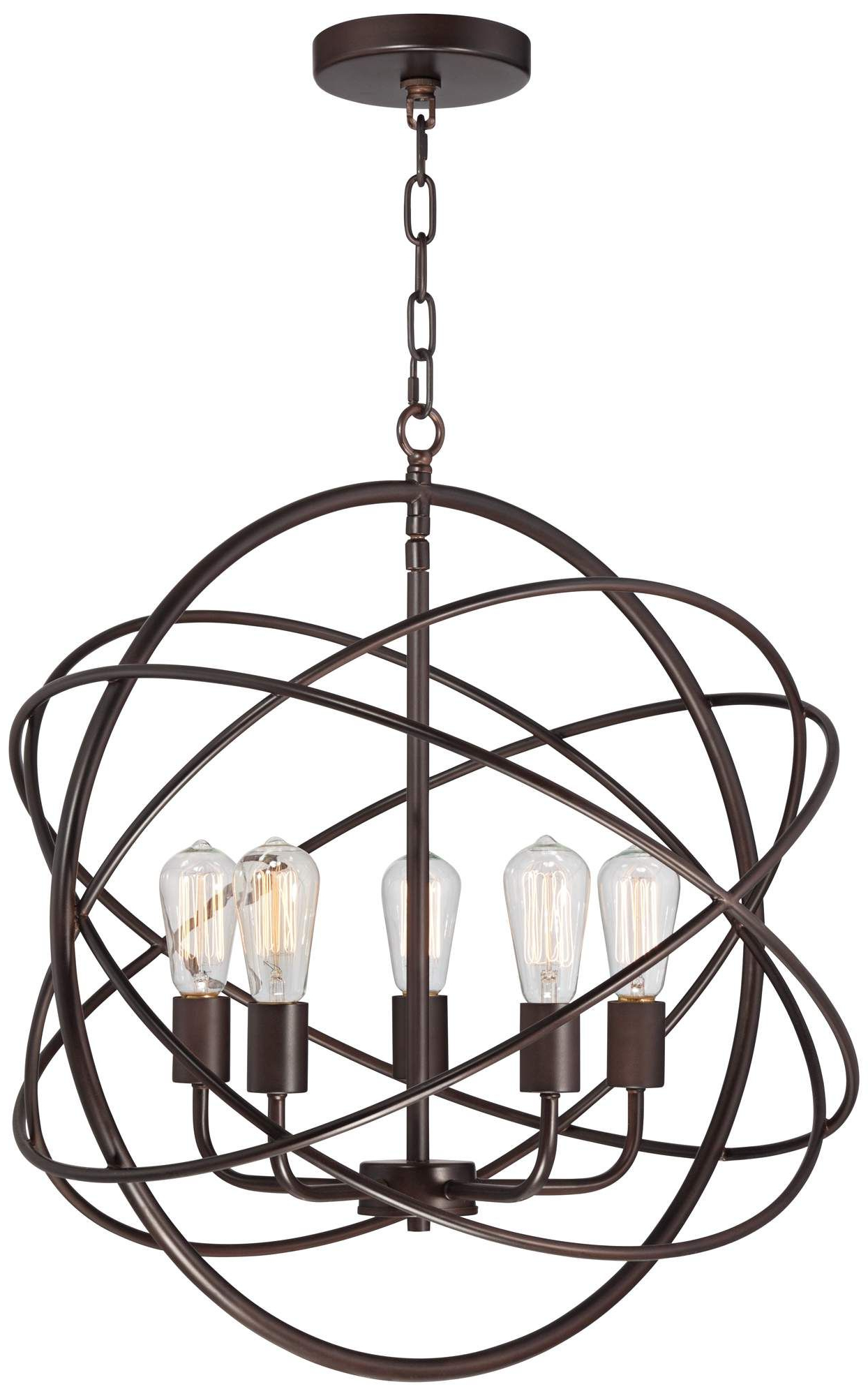 "Well Known Ellery 24 3/4"" Wide 5 Light Bronze Sphere Foyer Pendant In Throughout Kierra 4 Light Unique / Statement Chandeliers (View 19 of 20)"