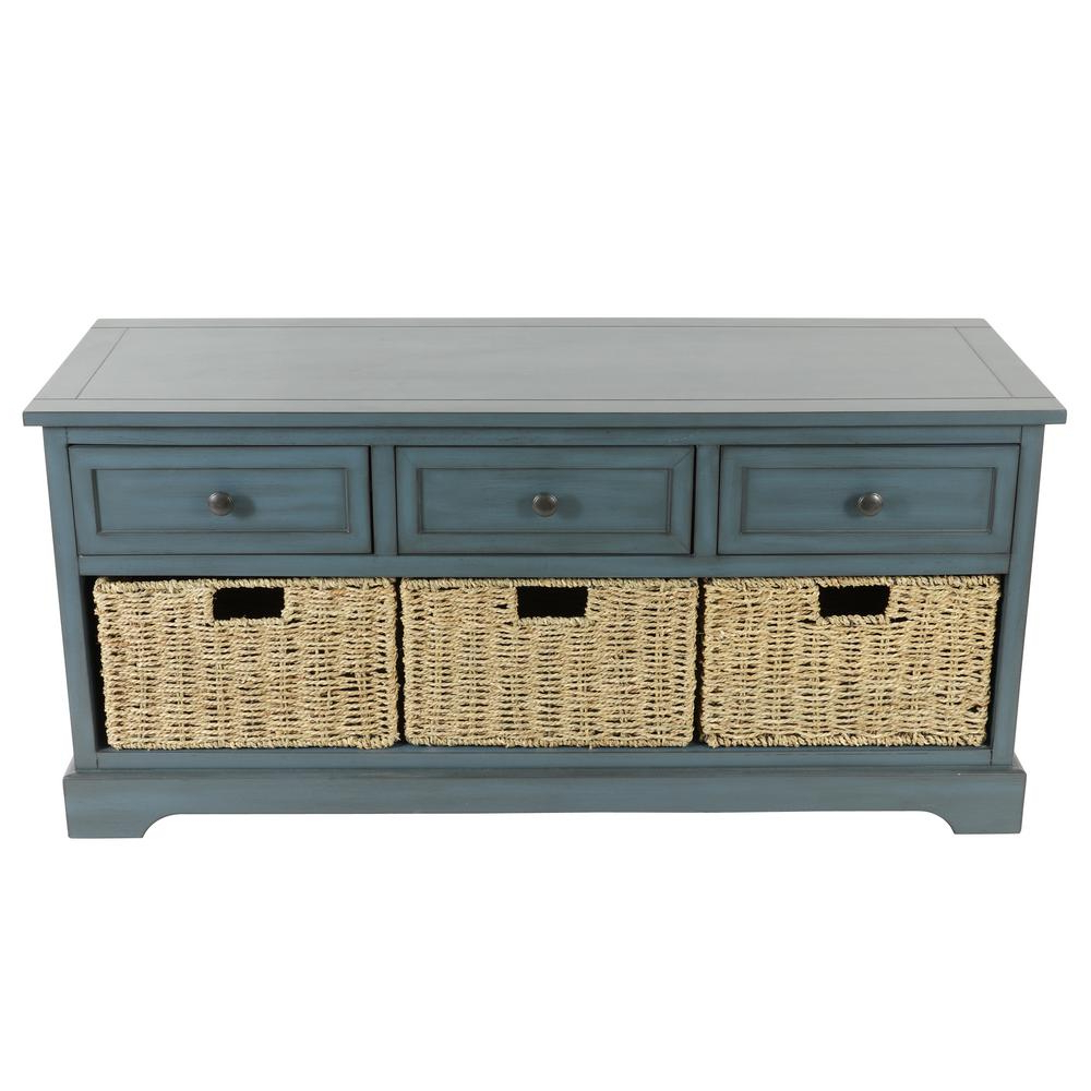 Well Known Emmaline Sideboards Within Montgomery Antique Navy Storage Bench (View 13 of 20)