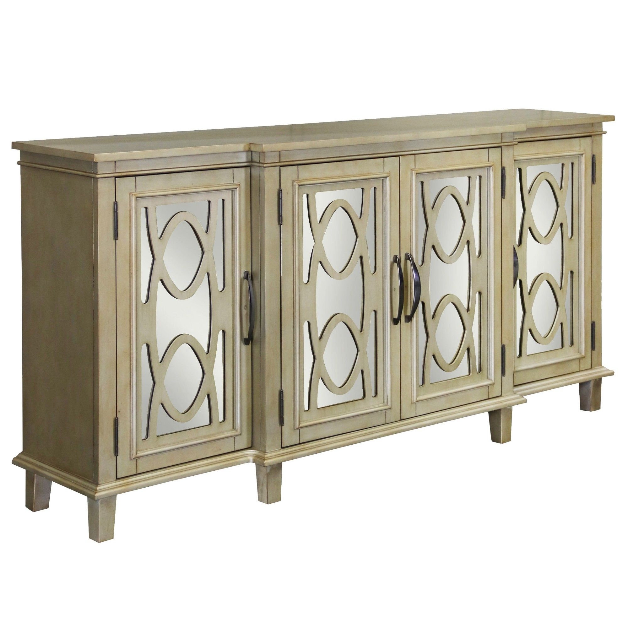 "Well Known Ethelinda Media Credenzas In 85"" Mirrored Media Console Natural – Stylecraft (Gallery 7 of 20)"