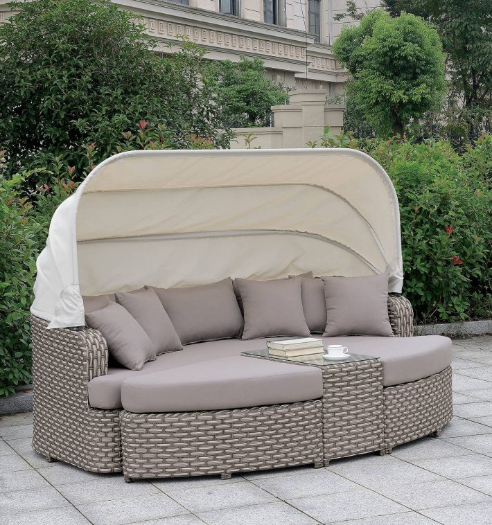 Well Known Furniture: Cool Patio Daybed With Alluring Cushions For Throughout Behling Canopy Patio Daybeds With Cushions (Gallery 15 of 20)