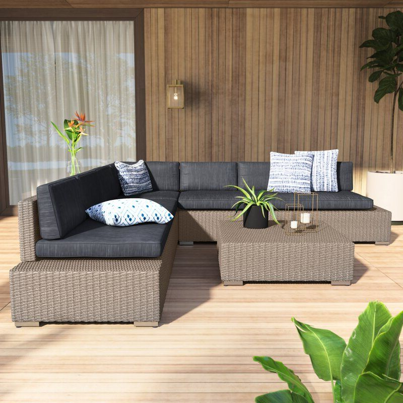 Well Known Furst Patio Sofas With Cushion Within Furst 4 Piece Rattan Sectional Set With Cushions (View 9 of 20)