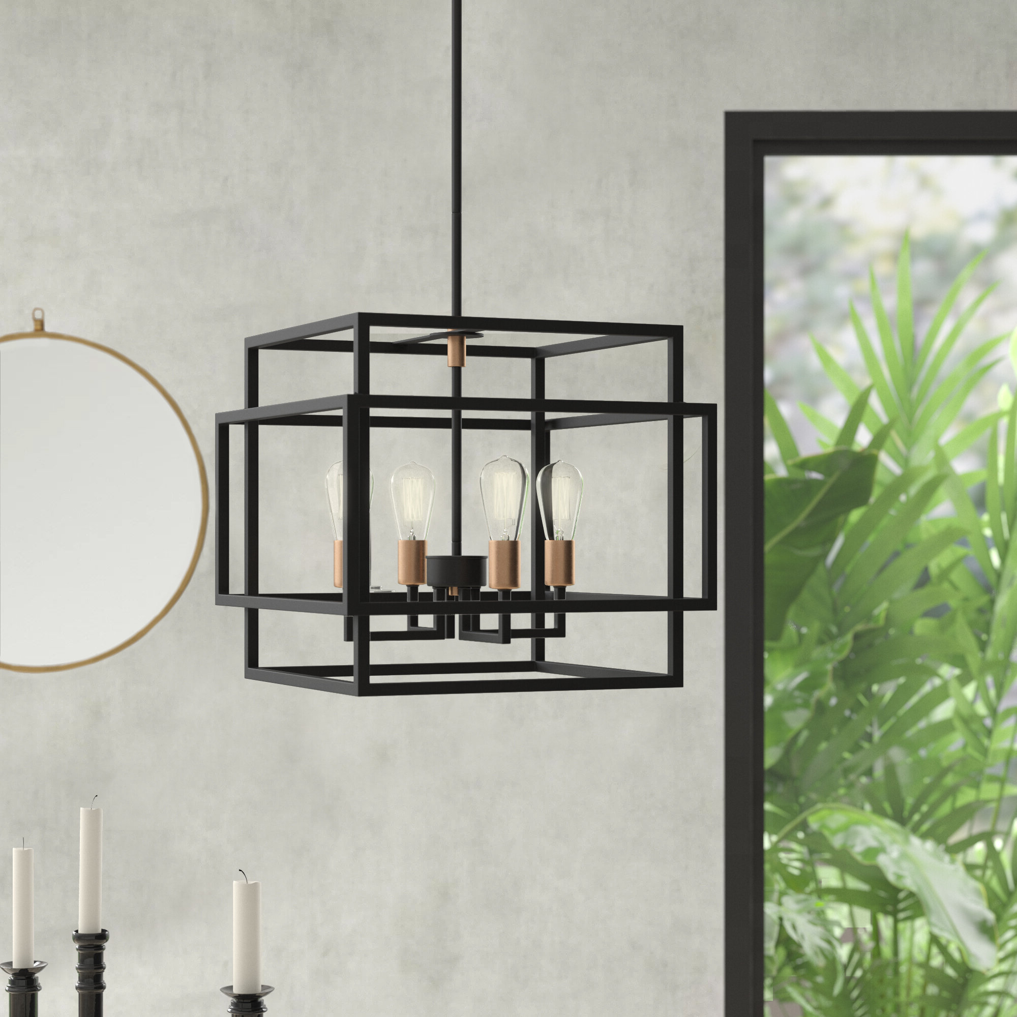 Well Known Hewitt 4 Light Square Chandeliers With Regard To Black Square & Rectangular Chandeliers You'll Love In (View 6 of 20)
