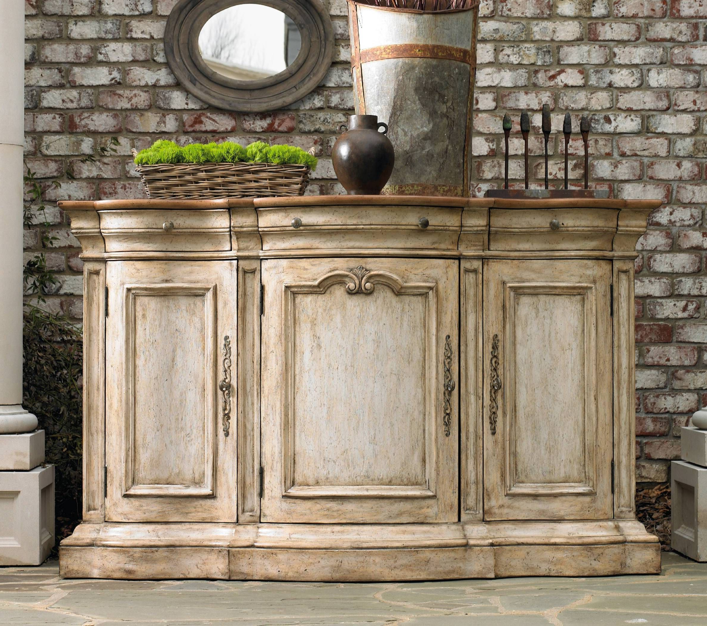 Well Known Ilyan Traditional Wood Sideboards With Hooker Furniture Living Room Three Door Three Drawer Shaped (View 17 of 20)