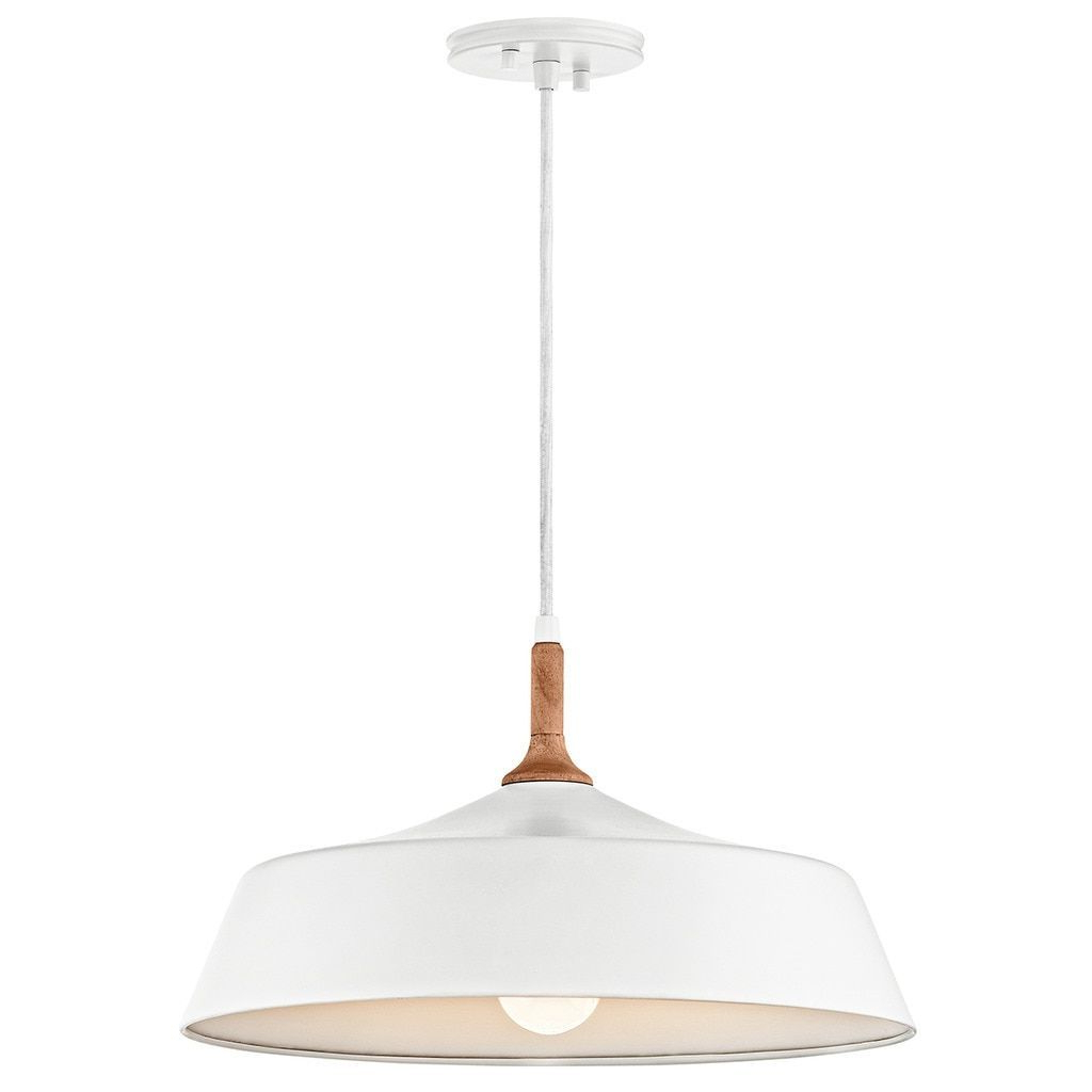 Well Known Kichler Lighting Danika Collection 1 Light White Pendant For Nadeau 1 Light Single Cone Pendants (View 18 of 20)