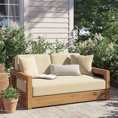Well Known Largent Teak Patio Chair With Cushions Pertaining To Lakeland Teak Loveseats With Cushions (View 20 of 20)
