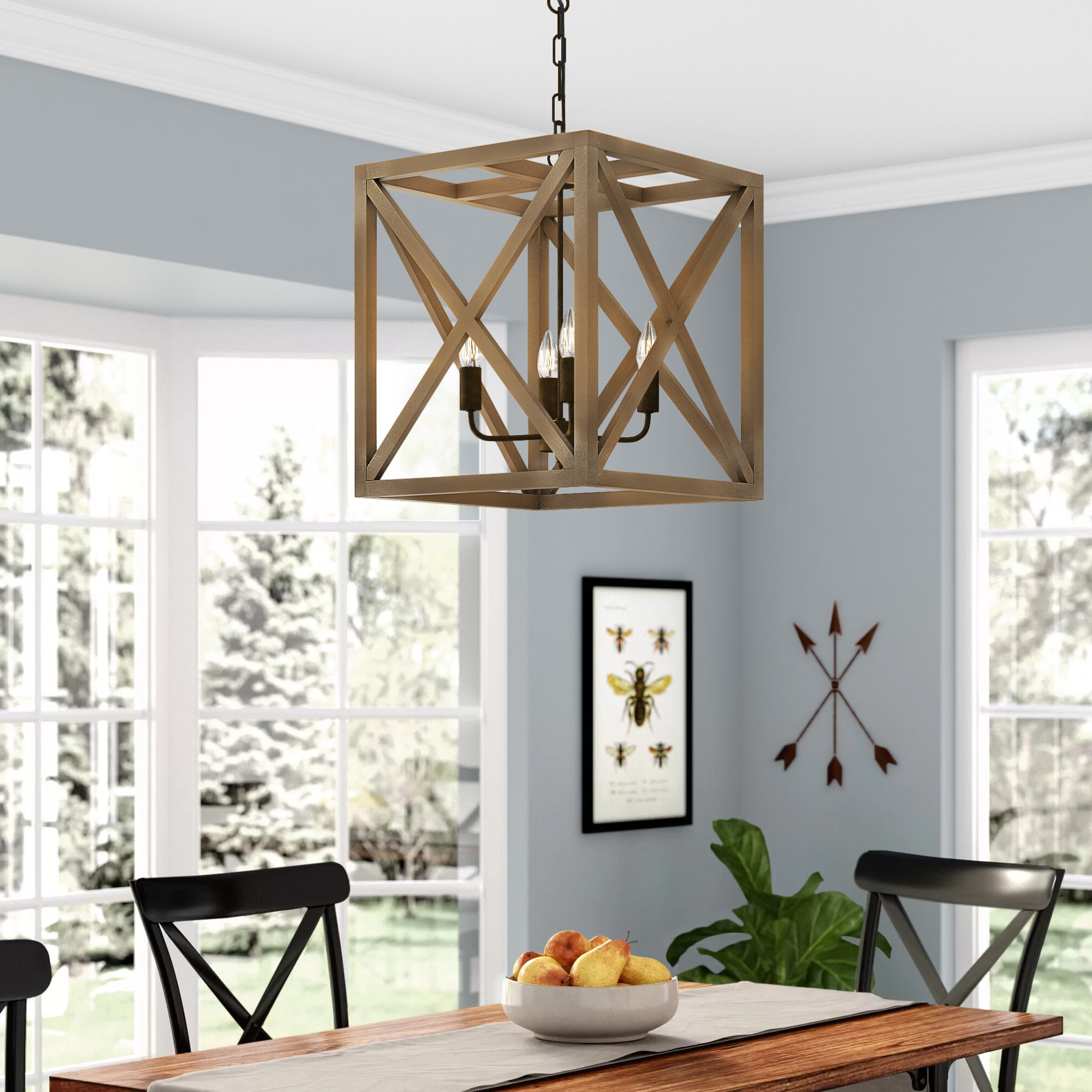Well Known Laurel Foundry Modern Farmhouse William 4 Light Square/rectangle Pendant Within William 4 Light Lantern Square / Rectangle Pendants (View 11 of 20)
