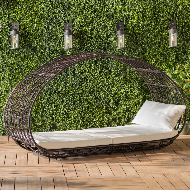 Well Known Lavina Outdoor Patio Daybeds With Cushions In Lavina Outdoor Patio Daybed With Cushions (Gallery 2 of 20)