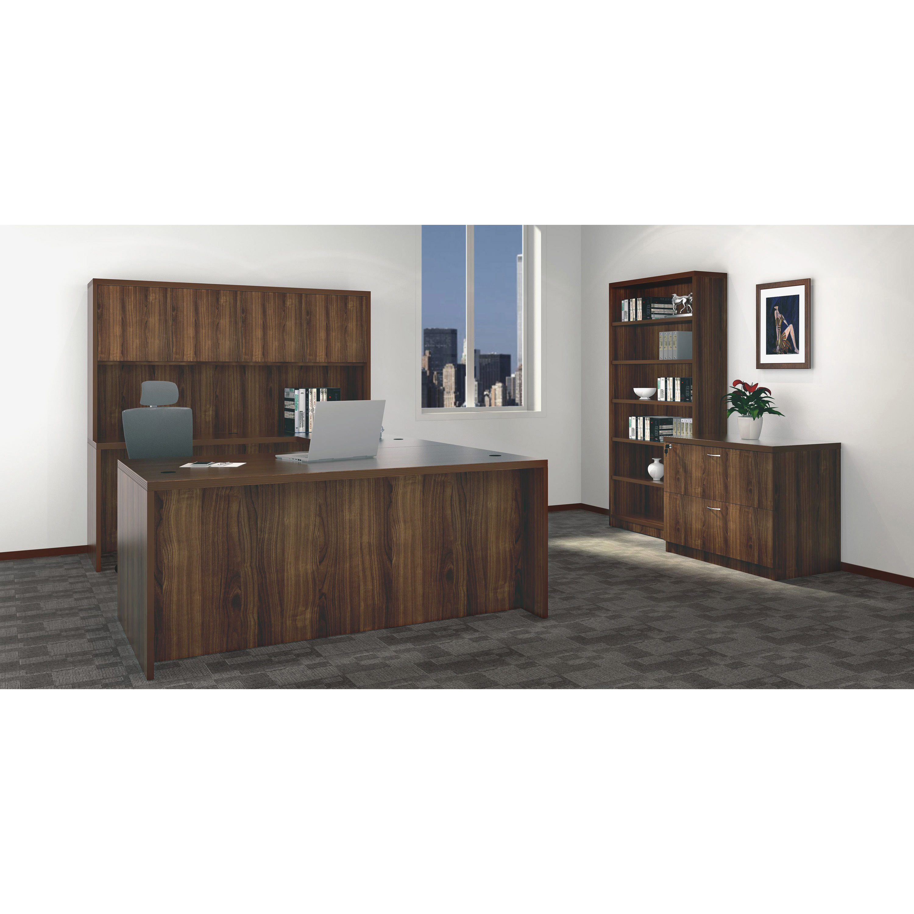 "Well Known Lorell Chateau Series Walnut Laminate Desking – 66.1"" X (View 15 of 20)"