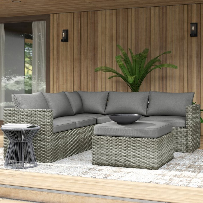 Well Known Lorentzen Patio Sectional With Cushions Within Purington Circular Patio Sectionals With Cushions (Gallery 11 of 20)