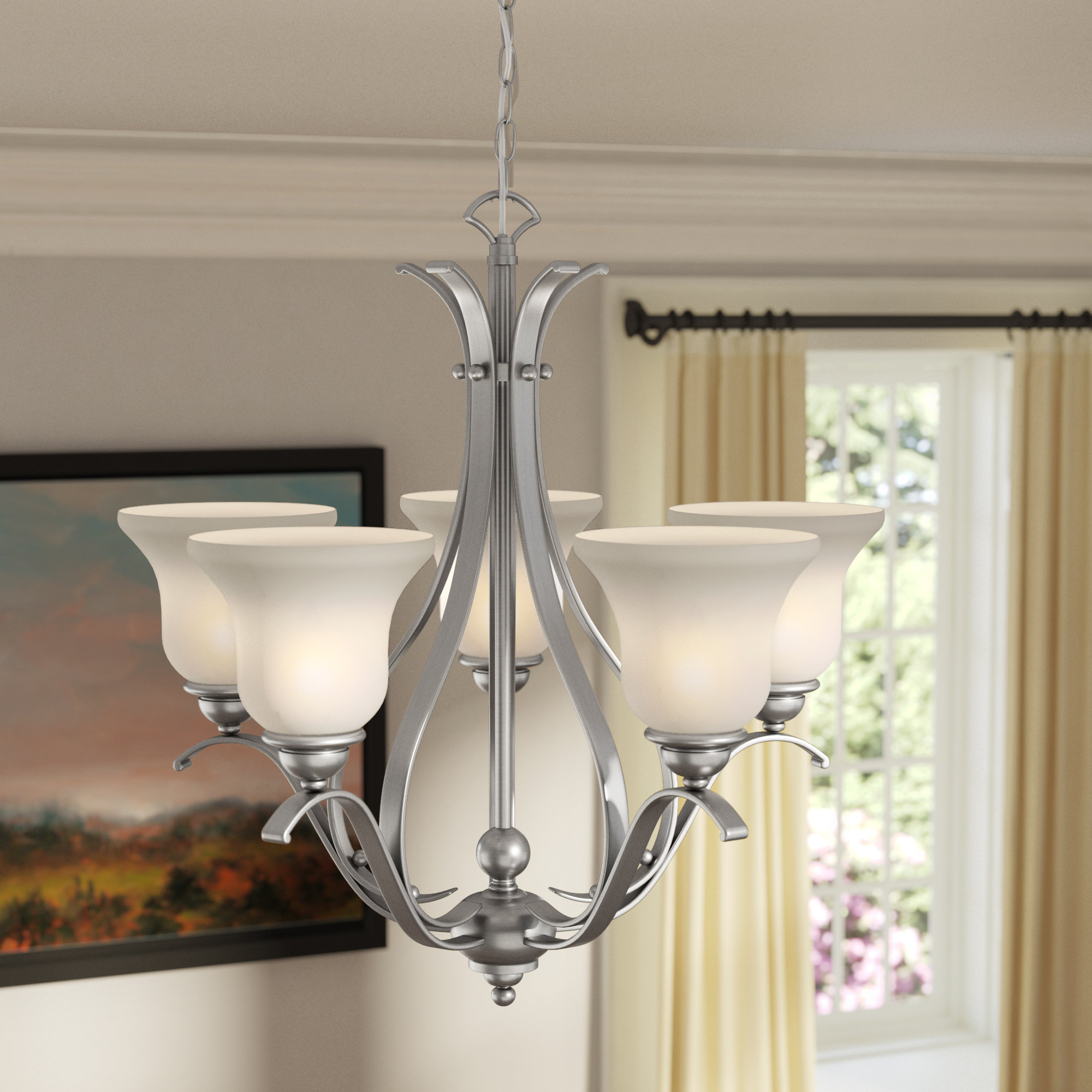 Well Known Newent 5 Light Shaded Chandeliers With Regard To Charlton Home Van Horne 5 Light Shaded Chandelier & Reviews (View 16 of 20)