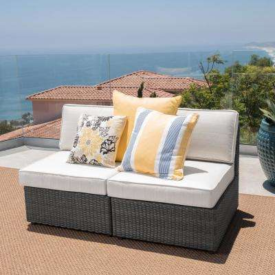 Well Known Nolan Grey Wicker Armless Middle Outdoor Sectional Chair With White  Cushions (2 Pack) Pertaining To Nolen Patio Sectionals With Cushions (View 6 of 20)