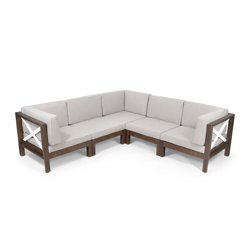 Well Known Nolen Patio Sectionals With Cushions In Patel Outdoor Patio Sectional With Cushions (View 18 of 20)