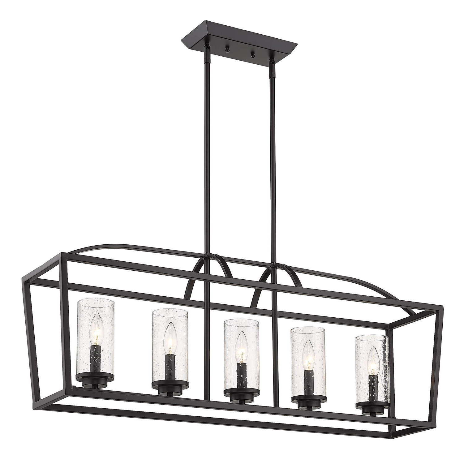 Well Known Odie 8 Light Kitchen Island Square / Rectangle Pendants Intended For Luna 5 Light Kitchen Island Linear Pendant (Gallery 10 of 20)