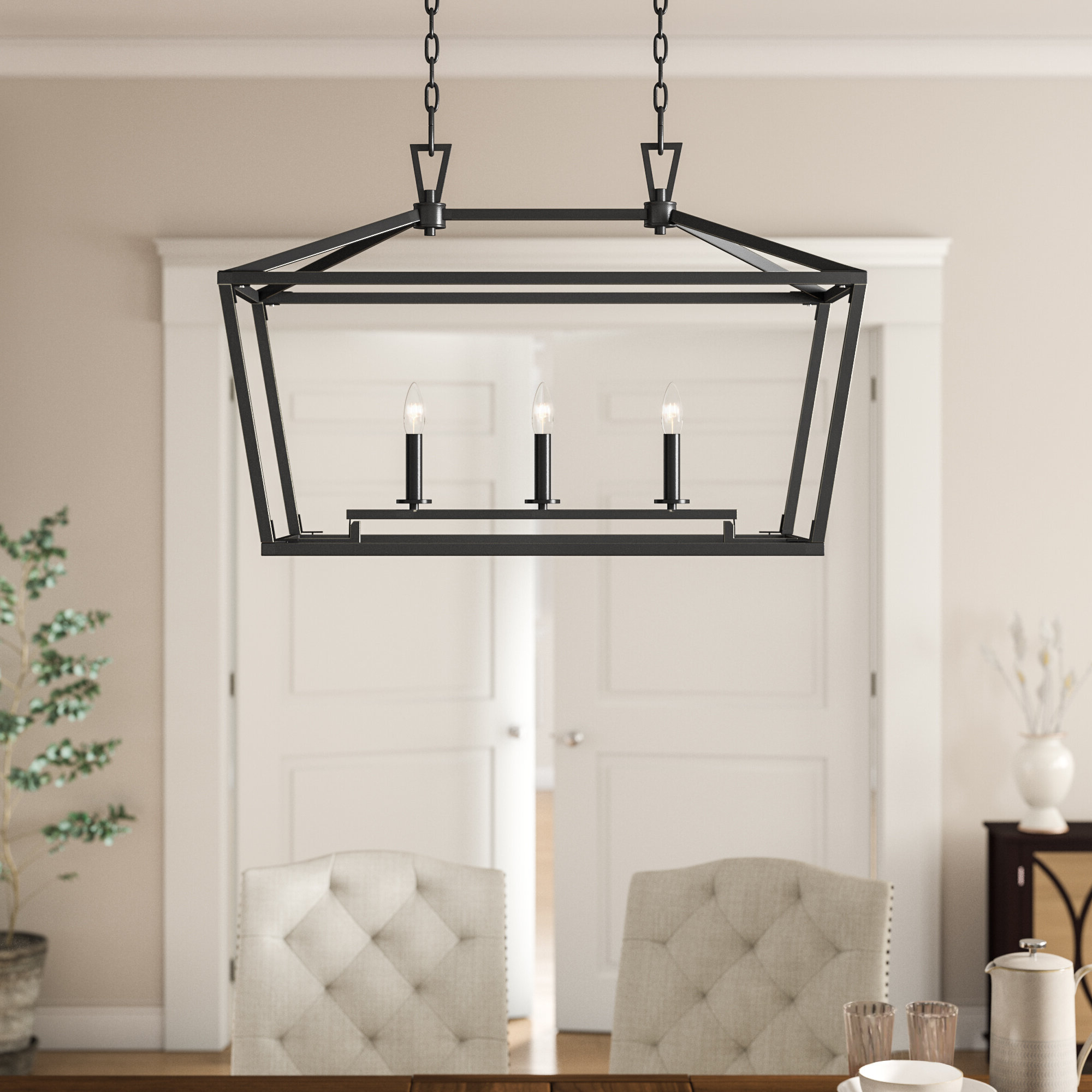 Well Known Odie 8 Light Kitchen Island Square / Rectangle Pendants Regarding Israel 3 Light Kitchen Island Pendant (View 18 of 20)