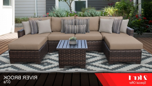 Well Known Oreland Patio Sofas With Cushions Regarding Kathy Ireland River Brook 7 Piece Outdoor Wicker Patio Furniture Set 07A (View 19 of 20)