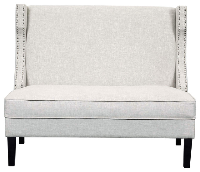 Well Known Prospect Hill Wicker Settee Benches For Concave Shelter Wing Entryway Bench, Off White (View 17 of 20)