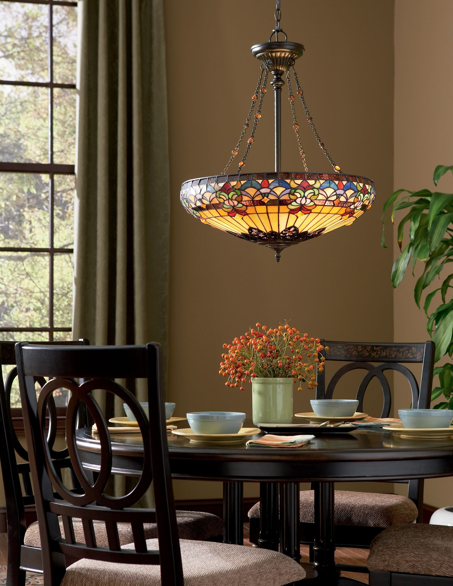 Well Known Quoizel Belle Fleur 4 Light Tiffany Inverted Pendant Inside Schutt 4 Light Kitchen Island Pendants (View 18 of 20)